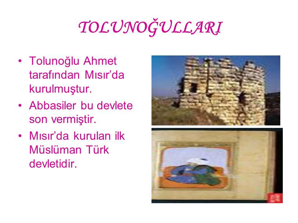 TOLUNOĞULLARI Tolunoğlu Ahmet tarafından Mısır'da kurulmuştur.