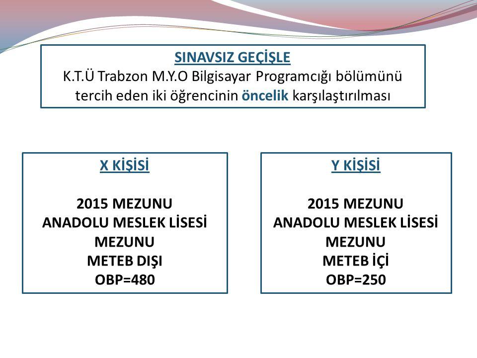 SINAVSIZ GEÇİŞLE K.T.Ü Trabzon M.Y.O Bilgisayar Programcığı bölümünü tercih eden iki öğrencinin öncelik karşılaştırılması.