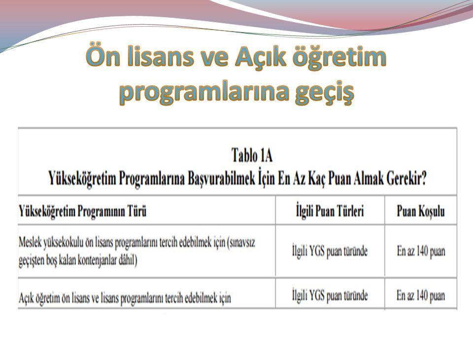 Ön lisans ve Açık öğretim programlarına geçiş