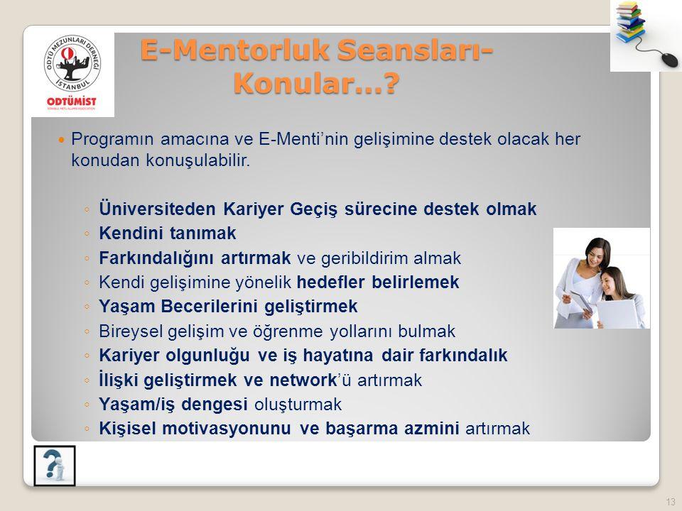 E-Mentorluk Seansları- Konular…