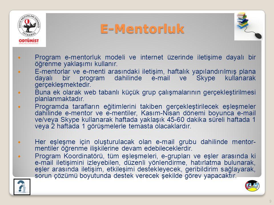 E-Mentorluk Program e-mentorluk modeli ve internet üzerinde iletişime dayalı bir öğrenme yaklaşımı kullanır.