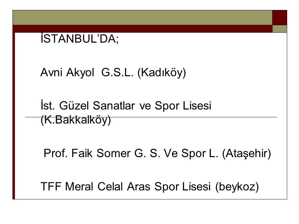 İSTANBUL'DA; Avni Akyol G.S.L. (Kadıköy) İst. Güzel Sanatlar ve Spor Lisesi (K.Bakkalköy) Prof. Faik Somer G. S. Ve Spor L. (Ataşehir)