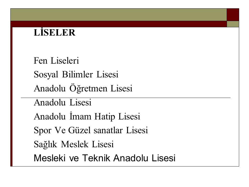 LİSELER Fen Liseleri. Sosyal Bilimler Lisesi. Anadolu Öğretmen Lisesi. Anadolu Lisesi. Anadolu İmam Hatip Lisesi.