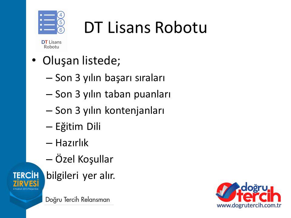 DT Lisans Robotu Oluşan listede; Son 3 yılın başarı sıraları