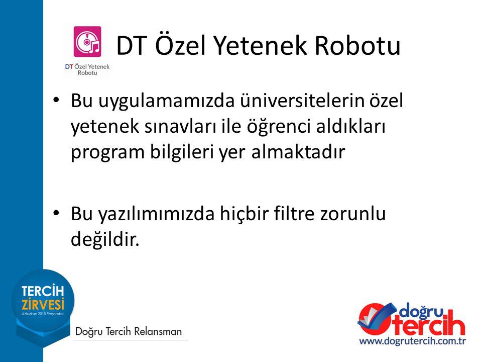 DT Özel Yetenek Robotu Bu uygulamamızda üniversitelerin özel yetenek sınavları ile öğrenci aldıkları program bilgileri yer almaktadır.