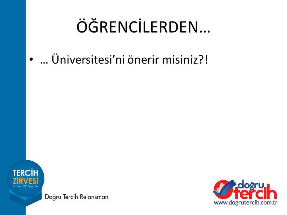 ÖĞRENCİLERDEN… … Üniversitesi'ni önerir misiniz !