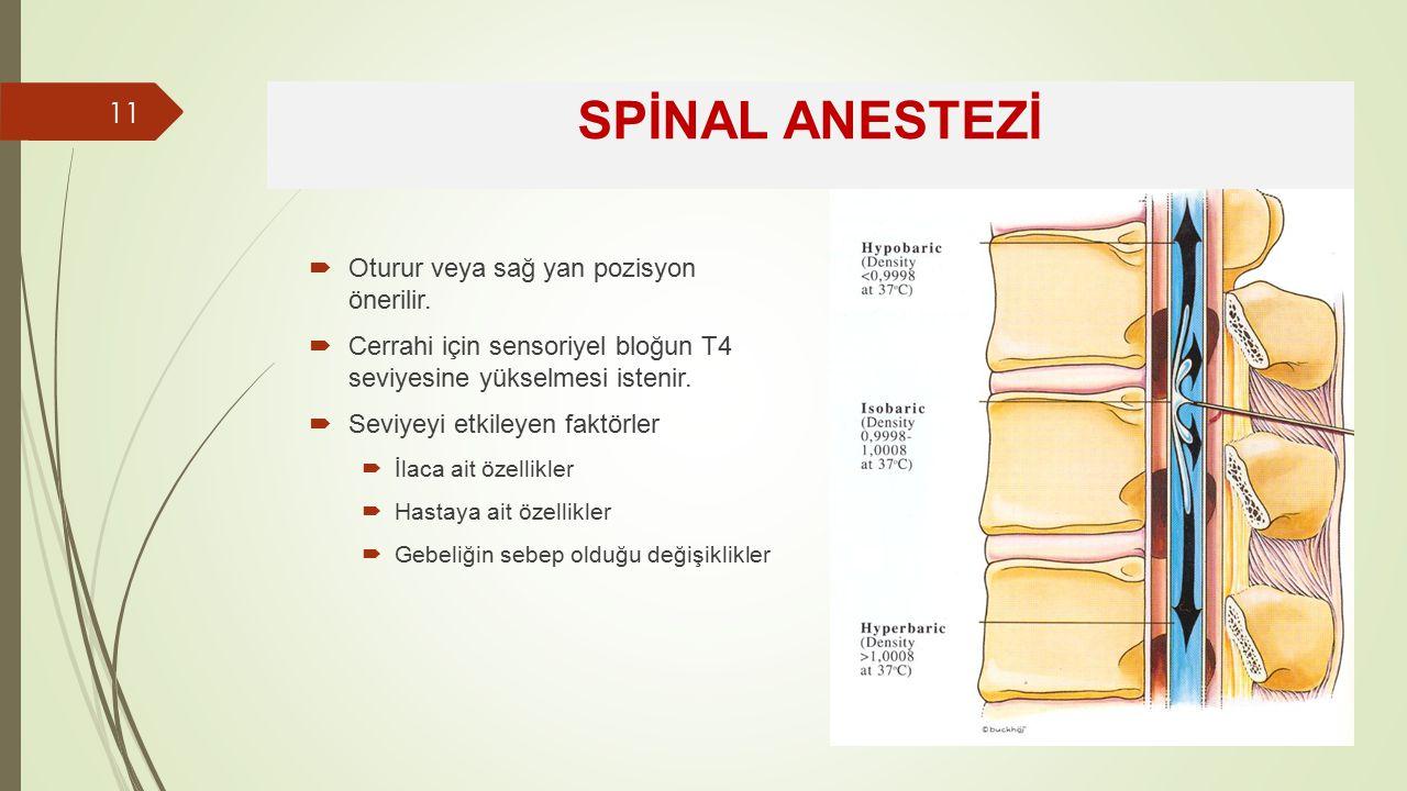 SPİNAL ANESTEZİ Oturur veya sağ yan pozisyon önerilir.