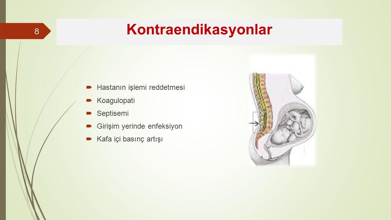 Kontraendikasyonlar Hastanın işlemi reddetmesi Koagulopati Septisemi