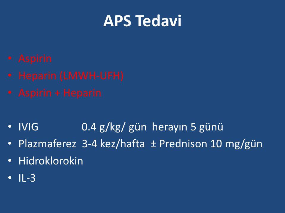 APS Tedavi Aspirin Heparin (LMWH-UFH) Aspirin + Heparin