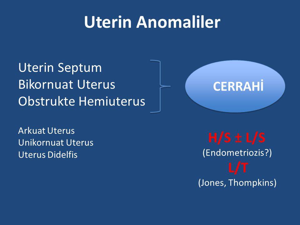 Uterin Anomaliler H/S ± L/S L/T Uterin Septum Bikornuat Uterus