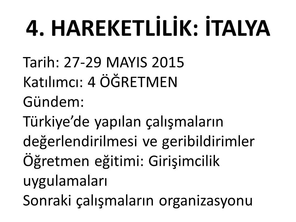 4. HAREKETLİLİK: İTALYA Tarih: 27-29 MAYIS 2015 Katılımcı: 4 ÖĞRETMEN