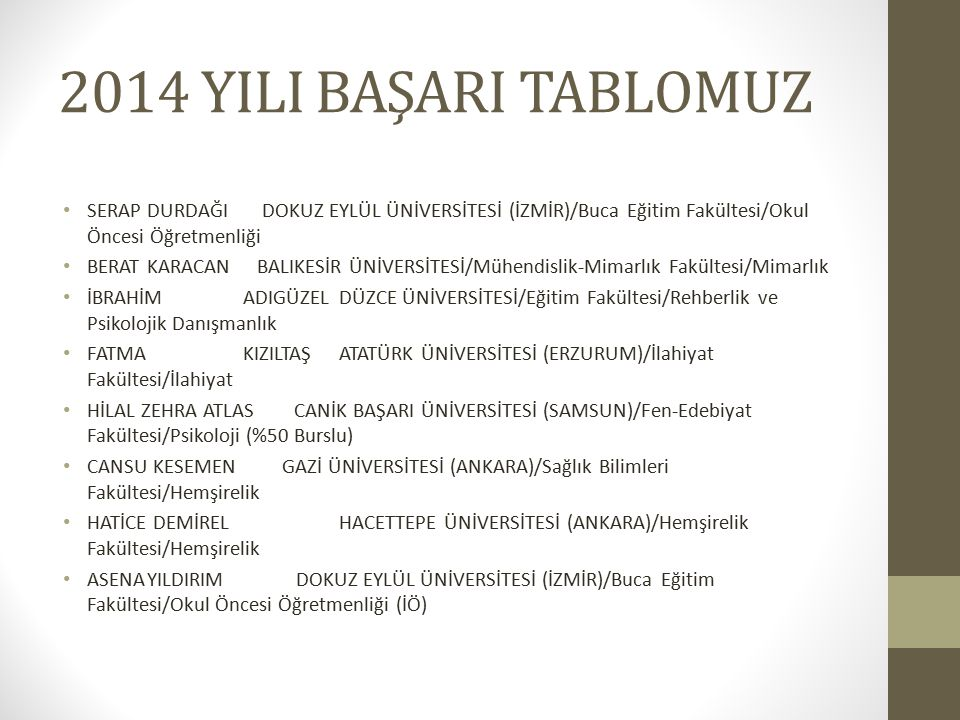 2014 YILI BAŞARI TABLOMUZ SERAP DURDAĞI DOKUZ EYLÜL ÜNİVERSİTESİ (İZMİR)/Buca Eğitim Fakültesi/Okul Öncesi Öğretmenliği.