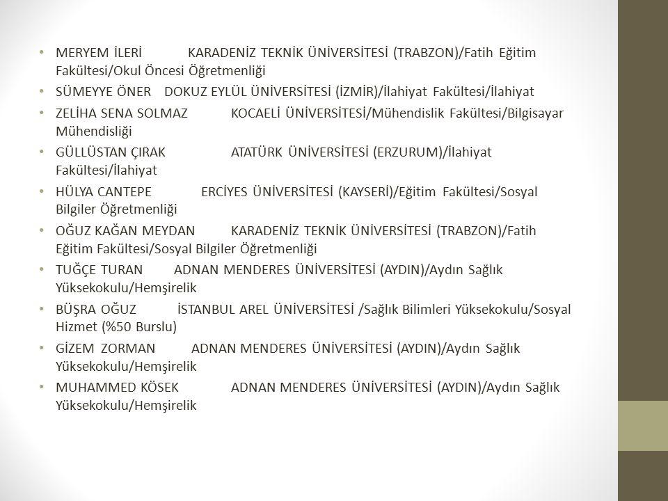 MERYEM İLERİ KARADENİZ TEKNİK ÜNİVERSİTESİ (TRABZON)/Fatih Eğitim Fakültesi/Okul Öncesi Öğretmenliği