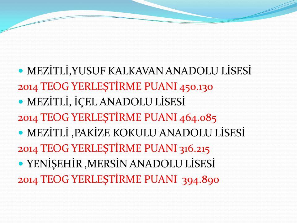 MEZİTLİ,YUSUF KALKAVAN ANADOLU LİSESİ