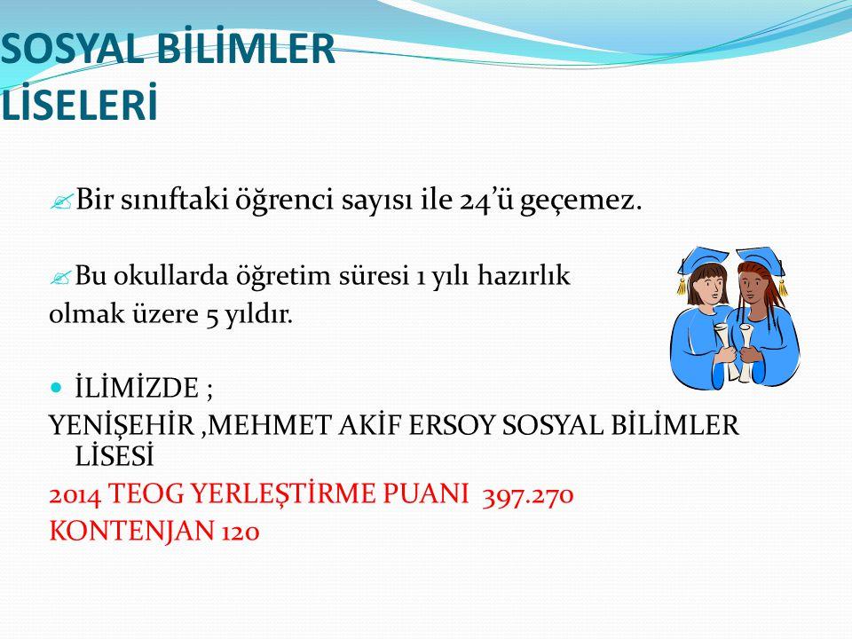 SOSYAL BİLİMLER LİSELERİ