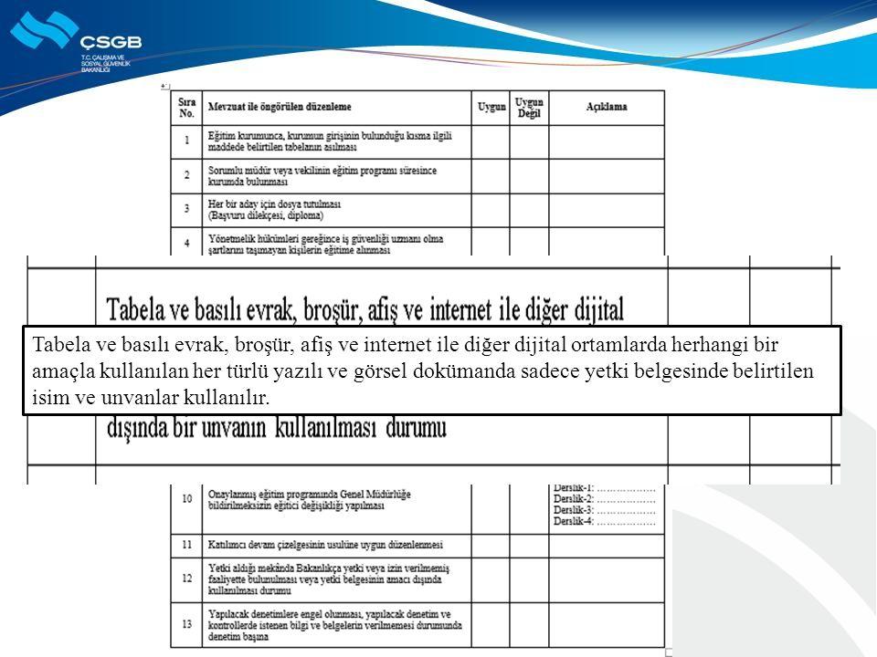Tabela ve basılı evrak, broşür, afiş ve internet ile diğer dijital ortamlarda herhangi bir amaçla kullanılan her türlü yazılı ve görsel dokümanda sadece yetki belgesinde belirtilen isim ve unvanlar kullanılır.