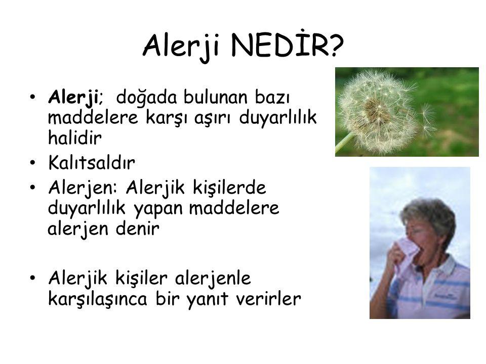 Alerji NEDİR Alerji; doğada bulunan bazı maddelere karşı aşırı duyarlılık halidir. Kalıtsaldır.