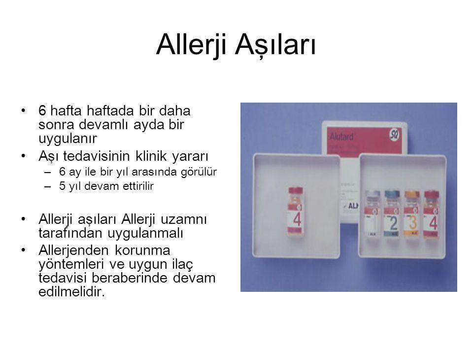 Allerji Aşıları 6 hafta haftada bir daha sonra devamlı ayda bir uygulanır. Aşı tedavisinin klinik yararı.