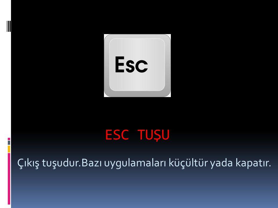 ESC TUŞU Çıkış tuşudur.Bazı uygulamaları küçültür yada kapatır.