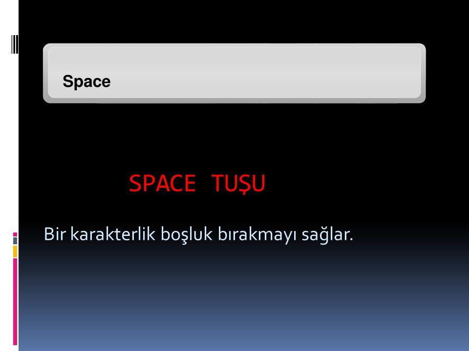 SPACE TUŞU Bir karakterlik boşluk bırakmayı sağlar.