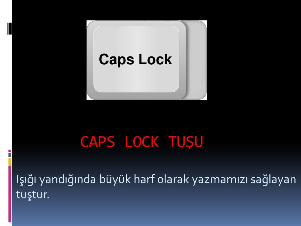 CAPS LOCK TUŞU Işığı yandığında büyük harf olarak yazmamızı sağlayan tuştur.