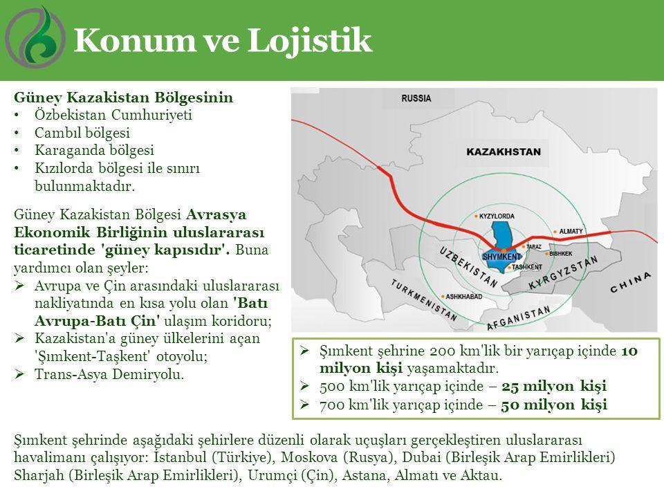 Konum ve Lojistik Güney Kazakistan Bölgesinin Özbekistan Cumhuriyeti