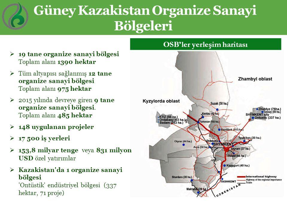 OSB'ler yerleşim haritası