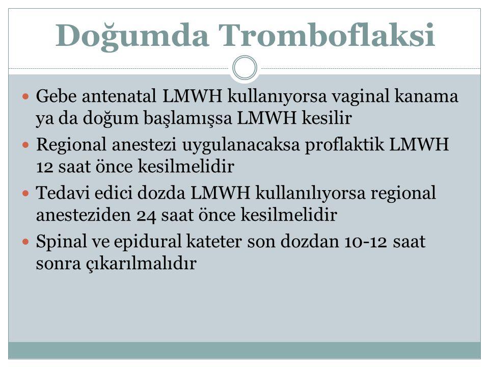 Doğumda Tromboflaksi Gebe antenatal LMWH kullanıyorsa vaginal kanama ya da doğum başlamışsa LMWH kesilir.