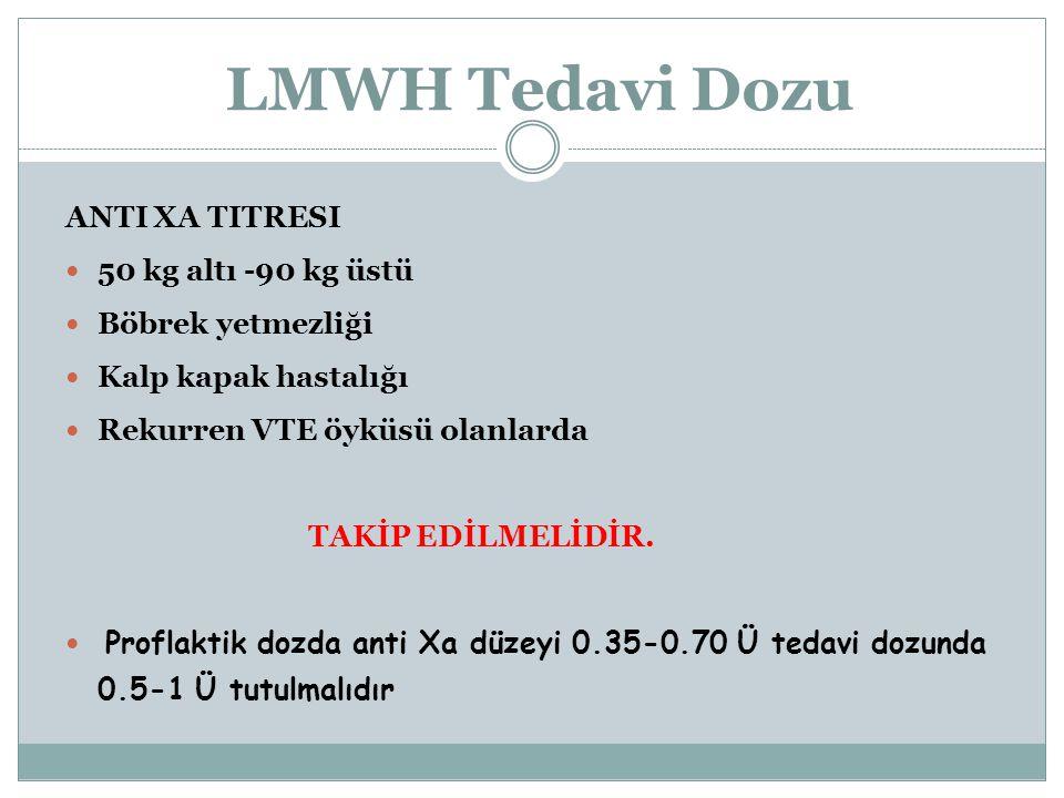 LMWH Tedavi Dozu Anti Xa titresi 50 kg altı -90 kg üstü