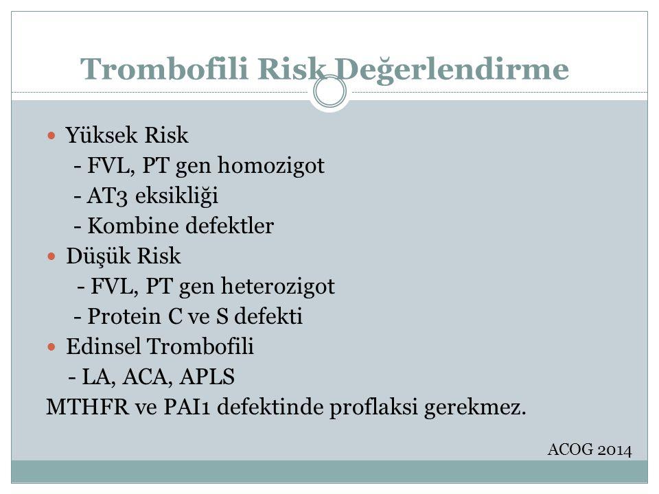 Trombofili Risk Değerlendirme