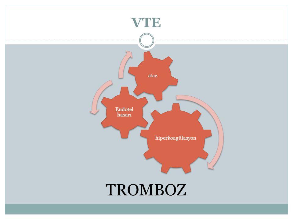 VTE hiperkoagülasyon Endotel hasarı staz TROMBOZ