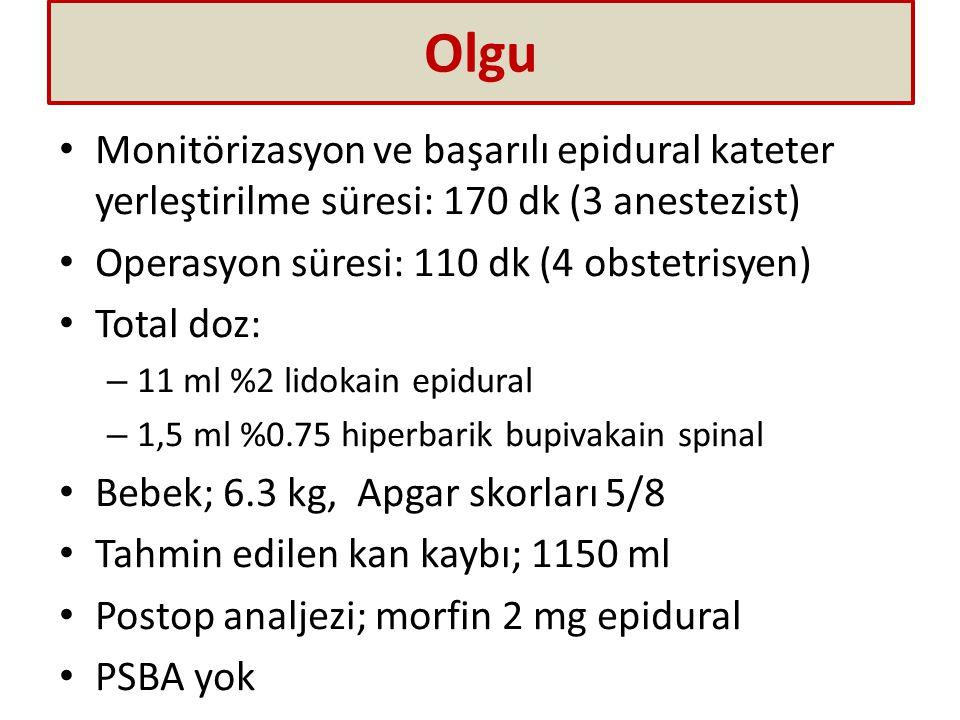 Olgu Monitörizasyon ve başarılı epidural kateter yerleştirilme süresi: 170 dk (3 anestezist) Operasyon süresi: 110 dk (4 obstetrisyen)