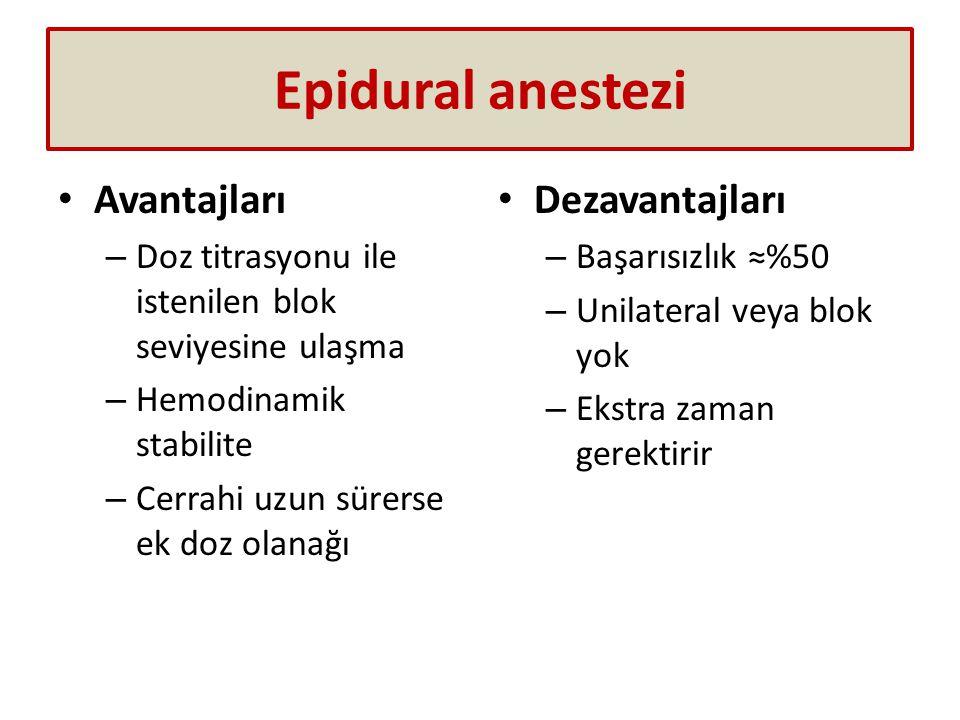 Epidural anestezi Avantajları Dezavantajları