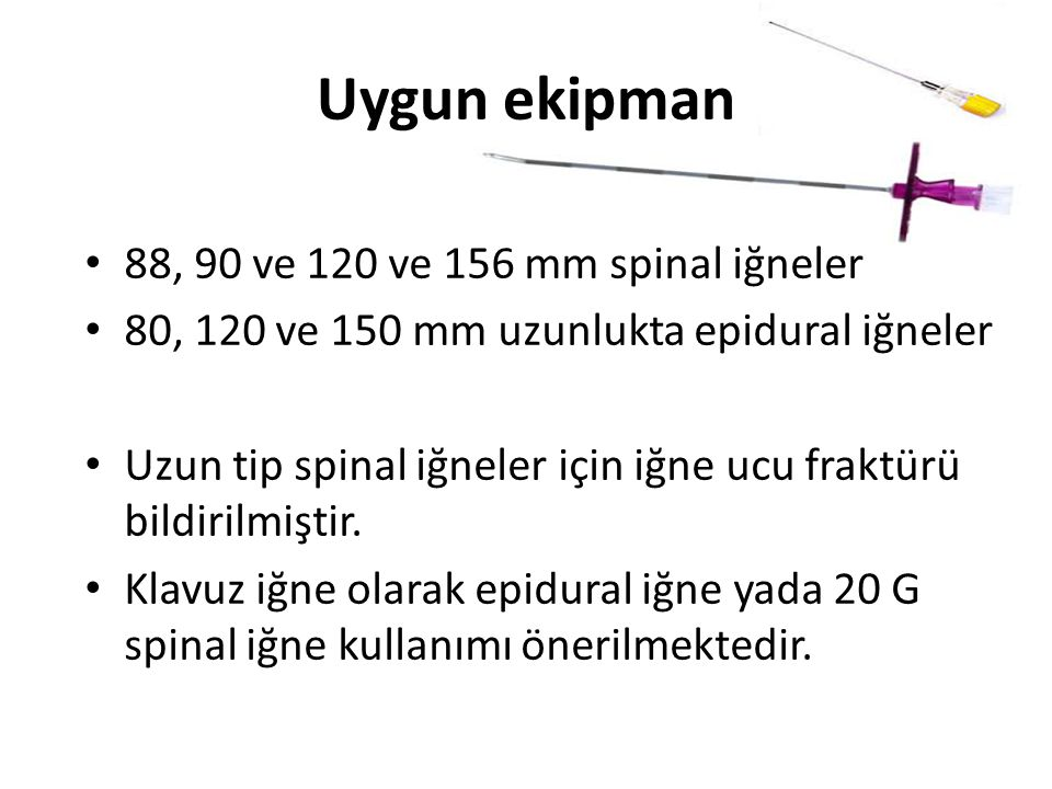 Uygun ekipman 88, 90 ve 120 ve 156 mm spinal iğneler