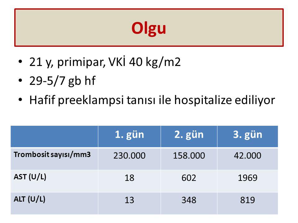 Olgu 21 y, primipar, VKİ 40 kg/m2 29-5/7 gb hf