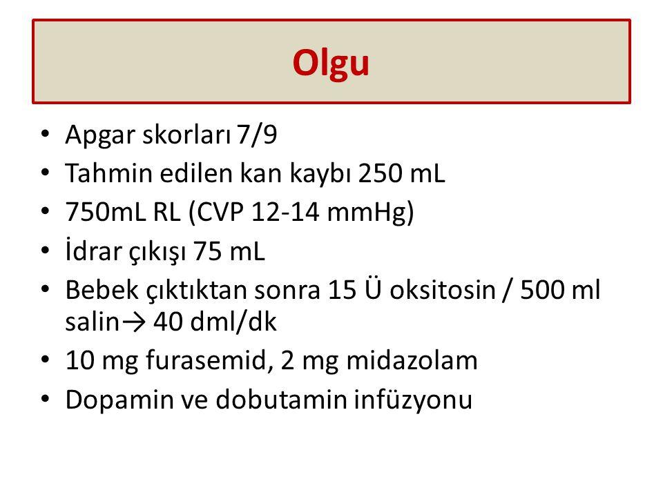 Olgu Apgar skorları 7/9 Tahmin edilen kan kaybı 250 mL