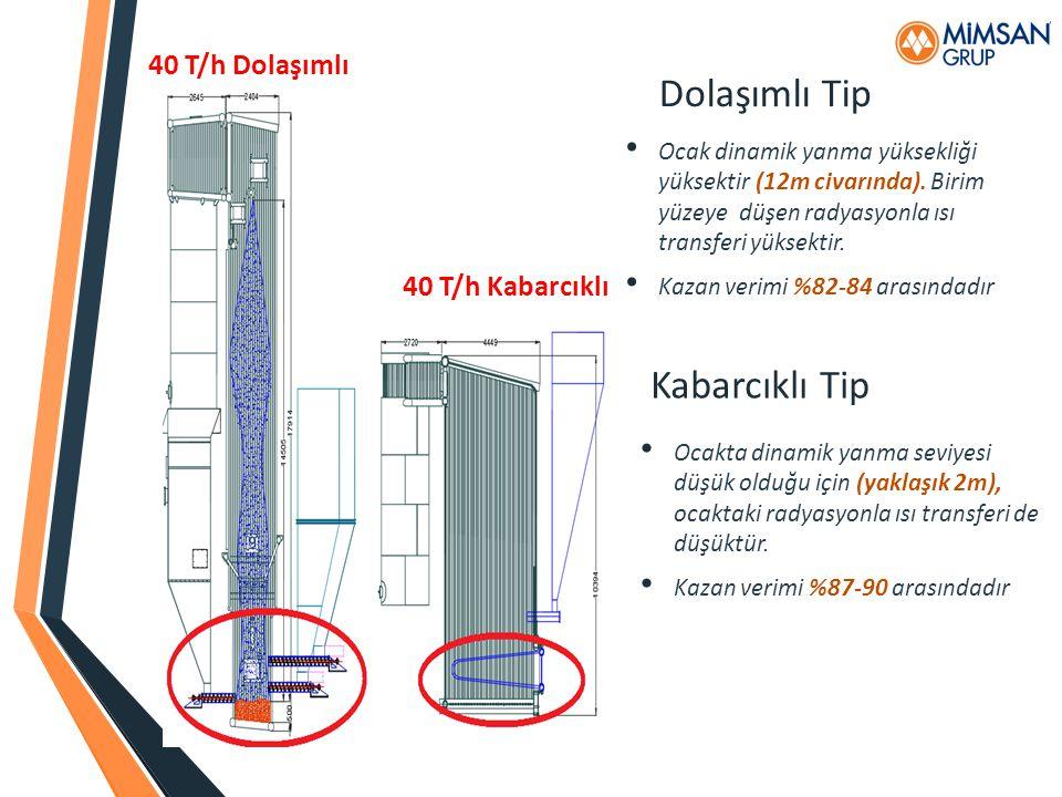 Dolaşımlı Tip Kabarcıklı Tip 40 T/h Dolaşımlı 40 T/h Kabarcıklı