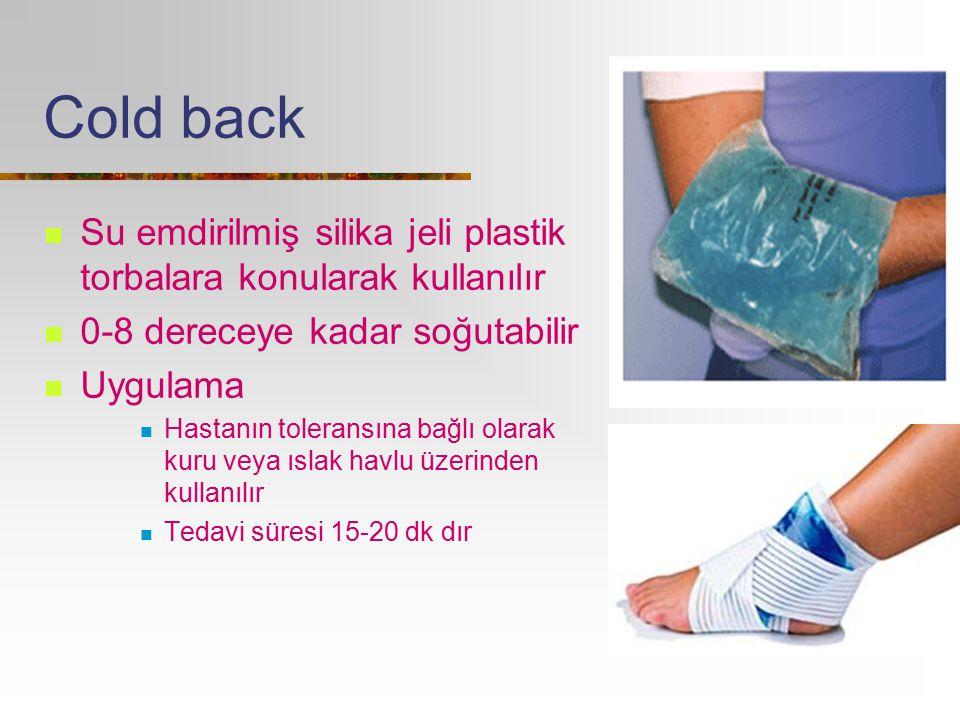 Cold back Su emdirilmiş silika jeli plastik torbalara konularak kullanılır. 0-8 dereceye kadar soğutabilir.