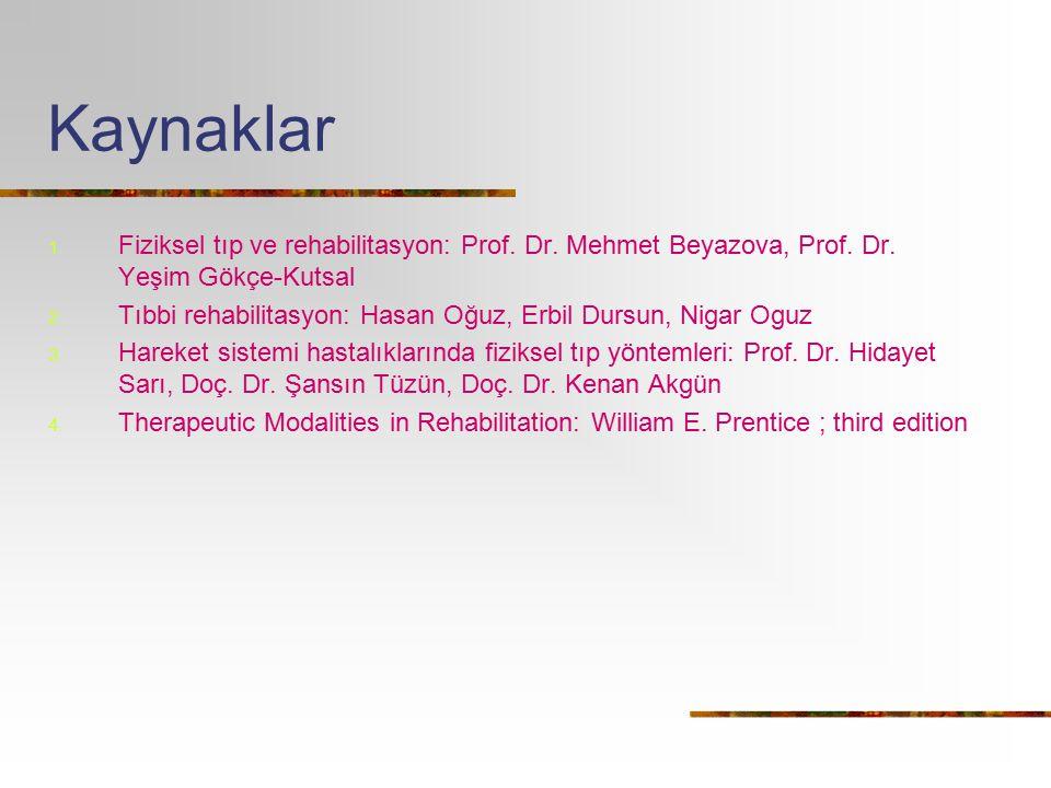 Kaynaklar Fiziksel tıp ve rehabilitasyon: Prof. Dr. Mehmet Beyazova, Prof. Dr. Yeşim Gökçe-Kutsal.