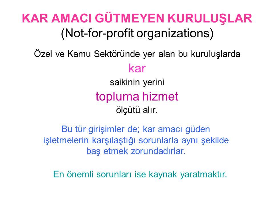 KAR AMACI GÜTMEYEN KURULUŞLAR (Not-for-profit organizations)
