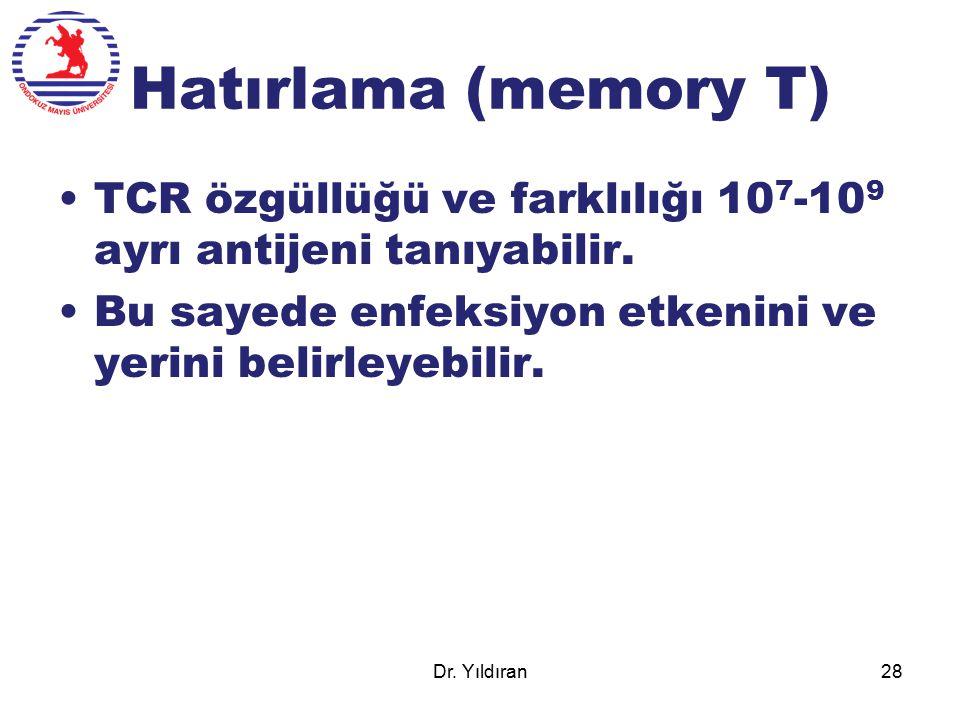 Hatırlama (memory T) TCR özgüllüğü ve farklılığı 107-109 ayrı antijeni tanıyabilir. Bu sayede enfeksiyon etkenini ve yerini belirleyebilir.