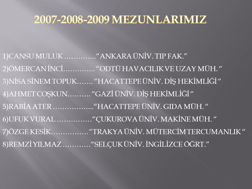 2007-2008-2009 MEZUNLARIMIZ 1)CANSU MULUK ………….. ANKARA ÜNİV. TIP FAK. 2)ÖMERCAN İNCİ………….. ODTÜ HAVACILIK VE UZAY MÜH.