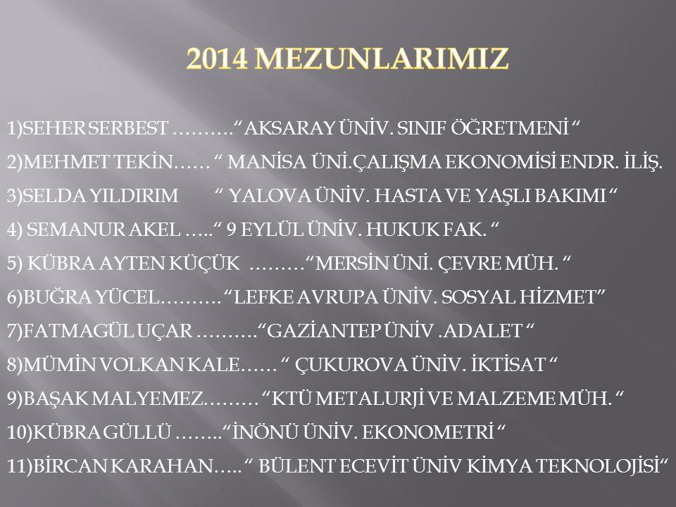 2014 MEZUNLARIMIZ 1)SEHER SERBEST ………. AKSARAY ÜNİV. SINIF ÖĞRETMENİ