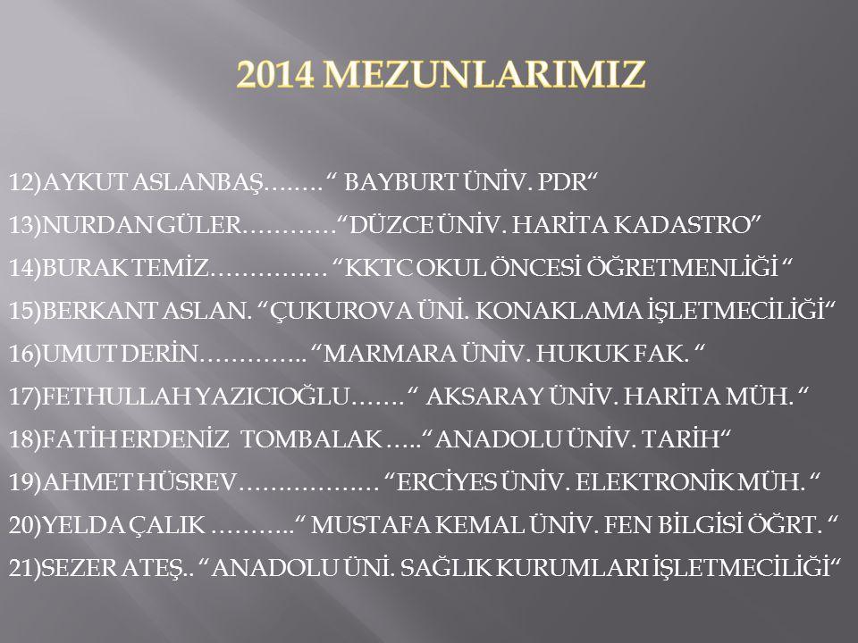 2014 MEZUNLARIMIZ 12)AYKUT ASLANBAŞ….…. BAYBURT ÜNİV. PDR