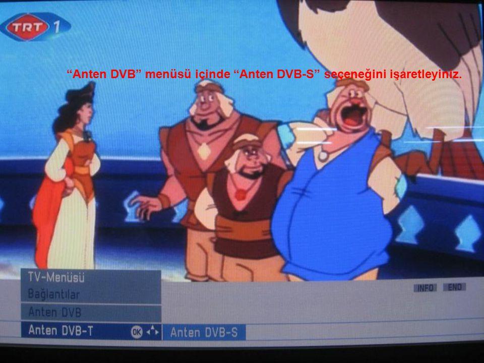 Anten DVB menüsü içinde Anten DVB-S seçeneğini işaretleyiniz.