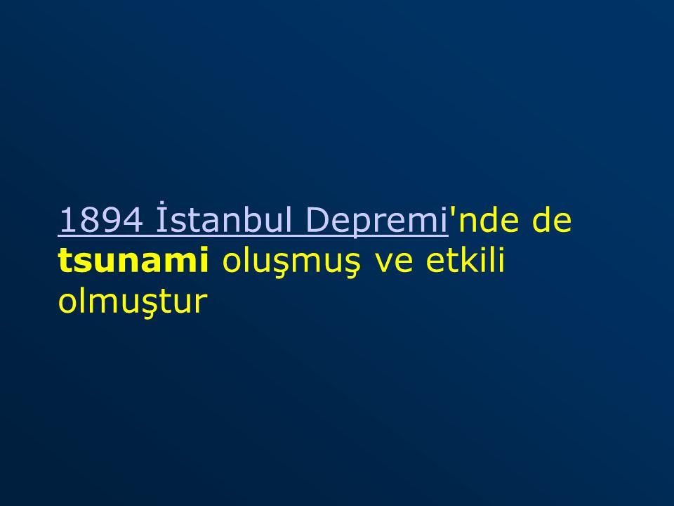 1894 İstanbul Depremi nde de tsunami oluşmuş ve etkili olmuştur