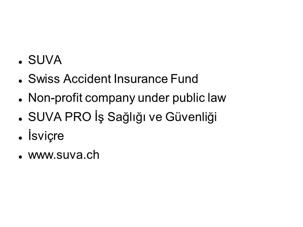SUVA Swiss Accident Insurance Fund. Non-profit company under public law. SUVA PRO İş Sağlığı ve Güvenliği.