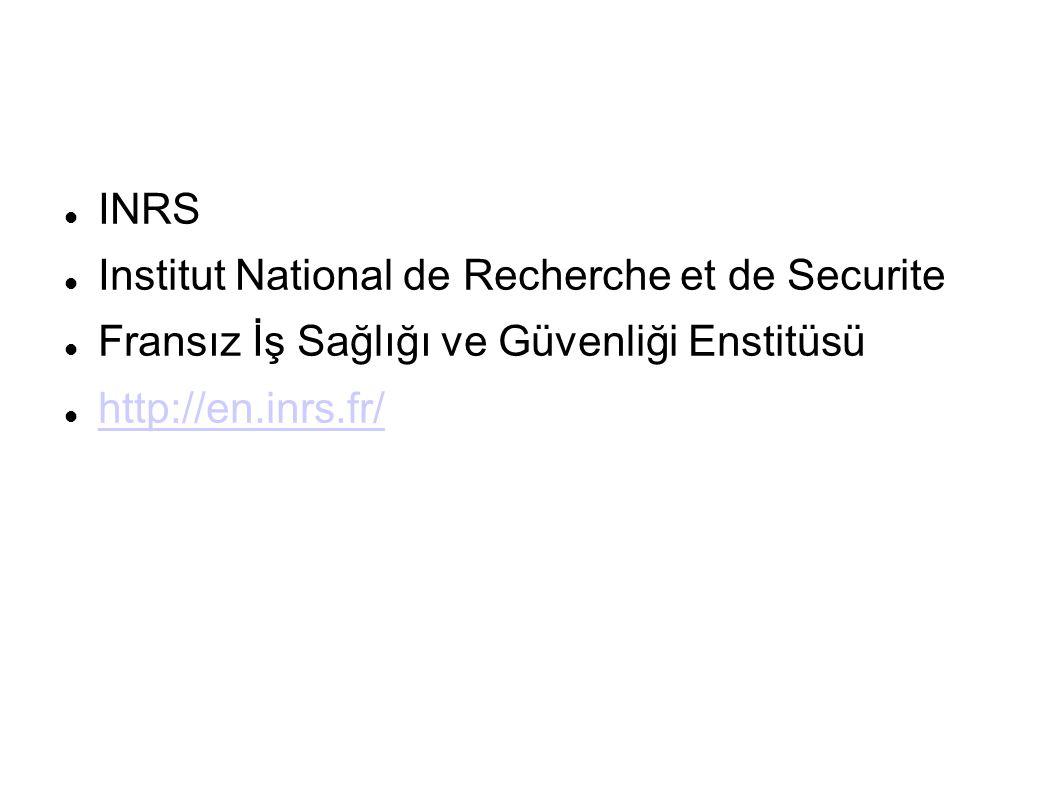 INRS Institut National de Recherche et de Securite.