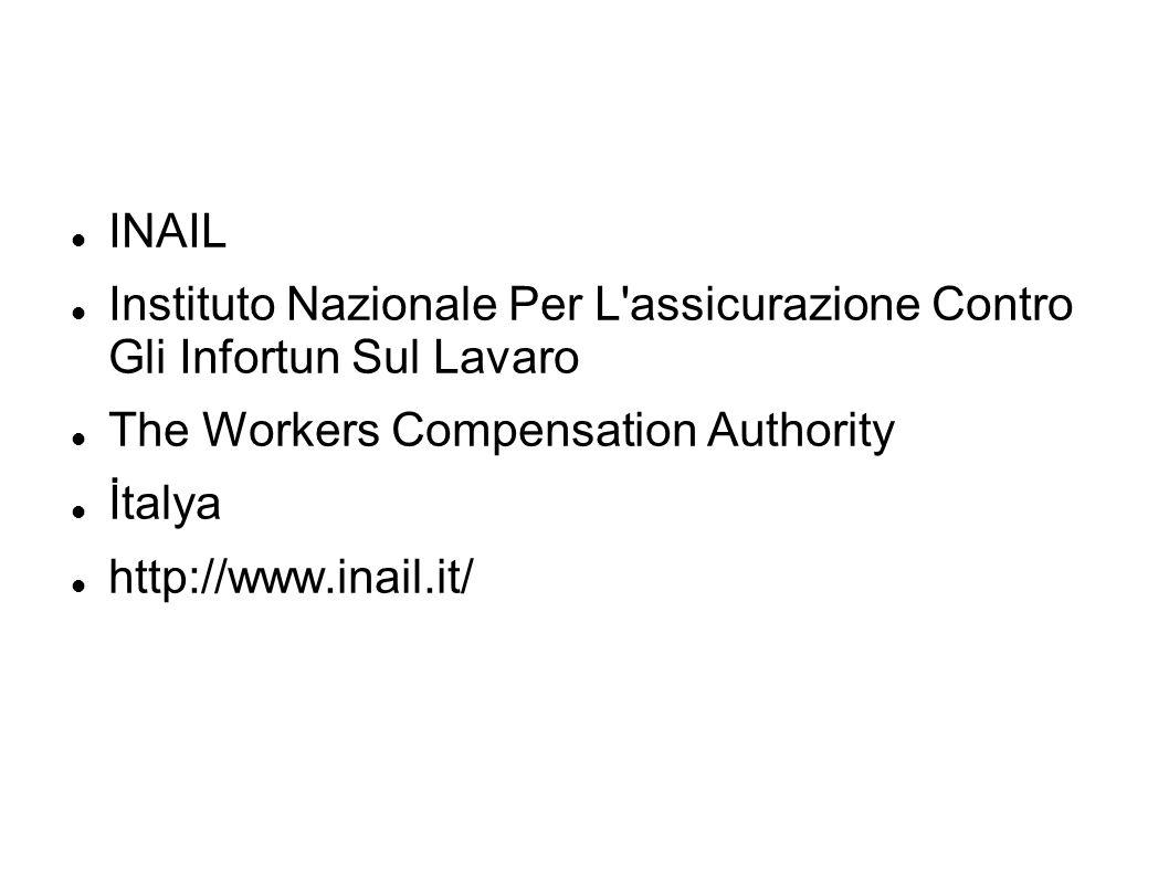 INAILInstituto Nazionale Per L assicurazione Contro Gli Infortun Sul Lavaro. The Workers Compensation Authority.