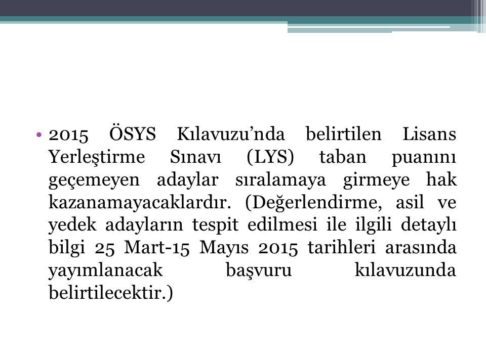 2015 ÖSYS Kılavuzu'nda belirtilen Lisans Yerleştirme Sınavı (LYS) taban puanını geçemeyen adaylar sıralamaya girmeye hak kazanamayacaklardır.